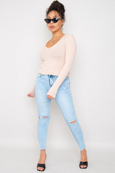Perfectly Blue Ripped Jeans