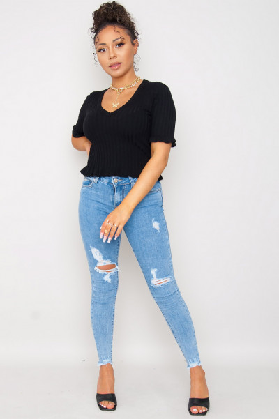 Im Busy V-Neck Top Black