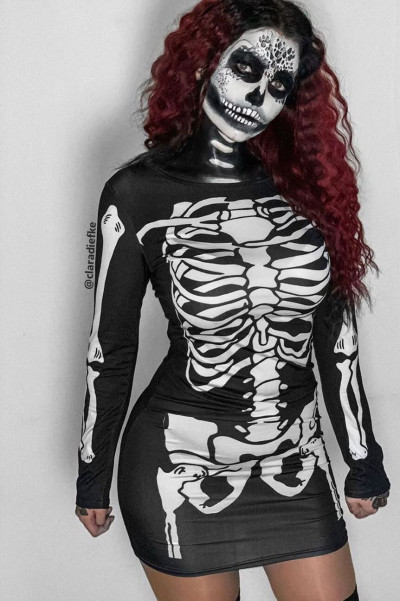 Halloween Skeleton Print Dress - Roxer