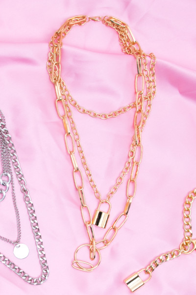 Chain Necklace - Chunky Lock Gold
