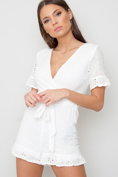 Broderie Playsuit - Wendi White