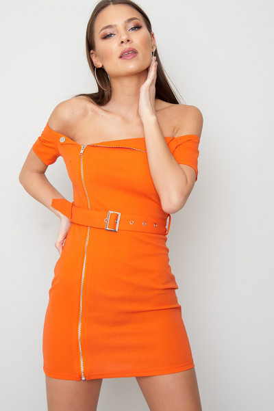 Zip Front Klänning Neon Orange - Zahra