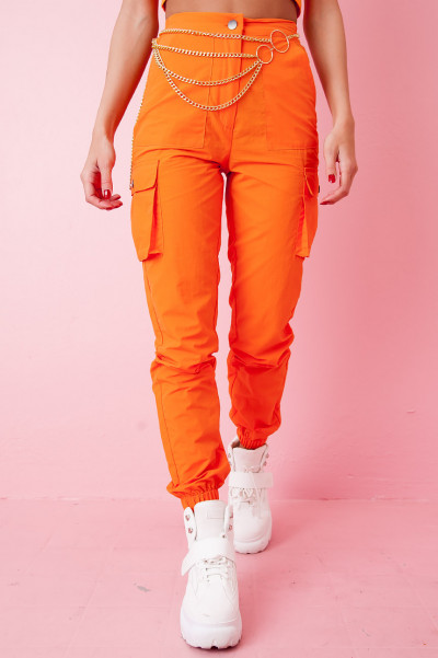 Neon Cargo Pants - Trina Orange