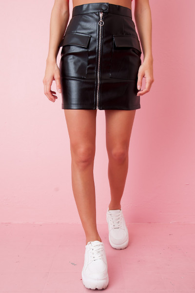 Faux Leather Utility Skirt - Ane
