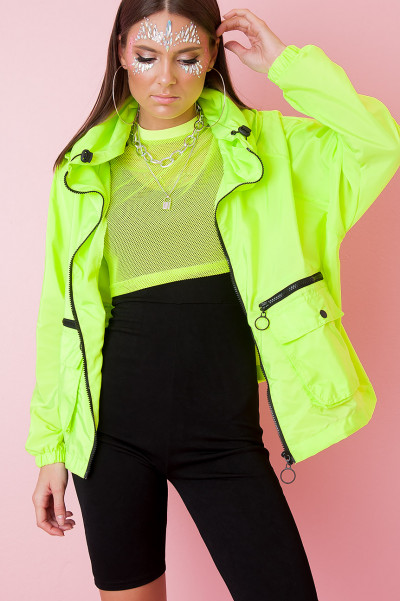 Hooded Festival Jacket - Pyro Neon Green