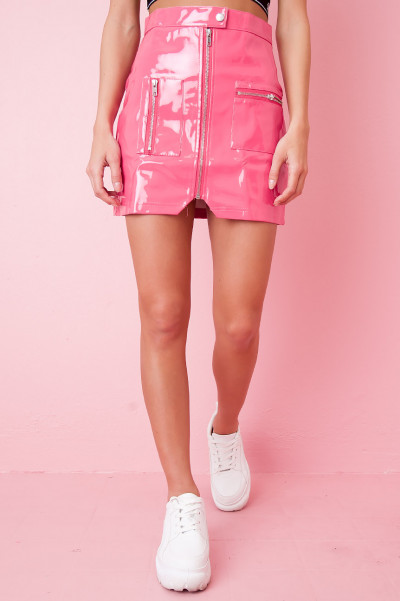 Wet Look Zip Skirt - Leisel Pink