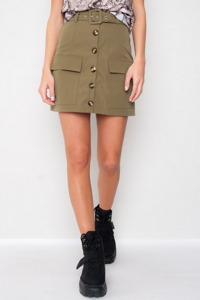 Button Front Mini Skirt Khaki