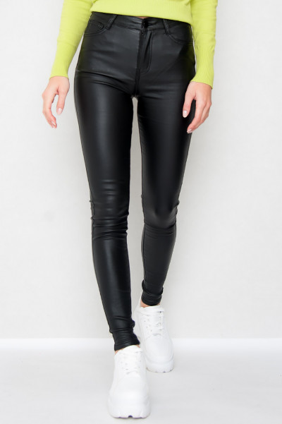 High Waist Faux Leather Byxor - Lei