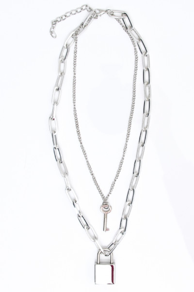 Double Chain Lock Necklace Silver