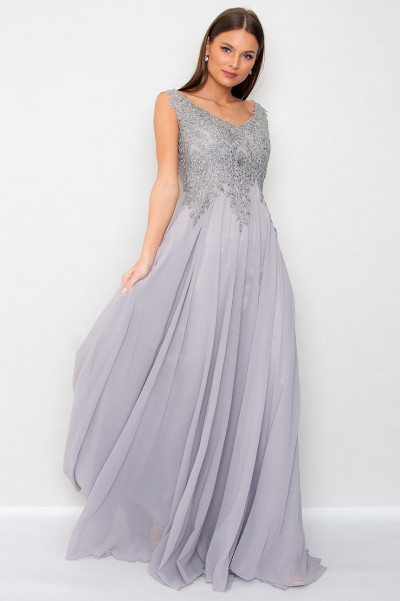 Chiffon Maxi Dress - Tempest Grey