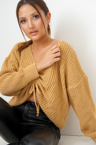 We Do It Again Camel Knitted Jumper