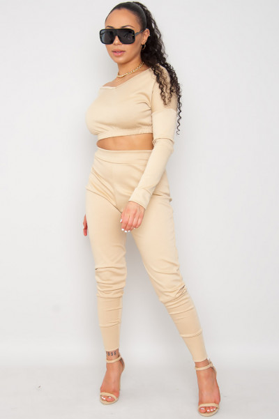 Next Level Beige Tracksuit Set
