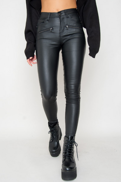 Faux Leather Pants W Zip - Angie