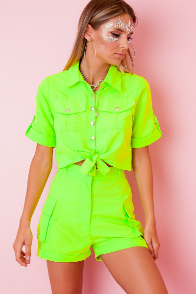 Cargo Crop Top Set - Lane Neon