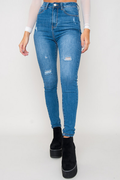 High Waisted Blue Jeans - Clara