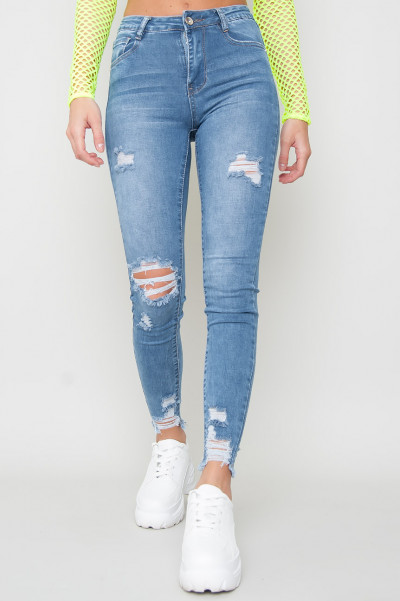 High Waisted Ripped Jeans - Riana