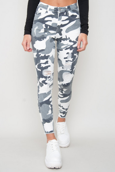 Ripped Camo Jeans - Whither Grey
