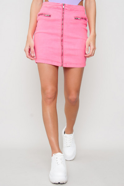 Denim Zip Front Skirt - Mila Pink