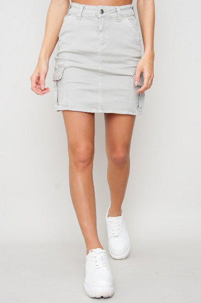 Cargo Denim Skirt - Gina Grå