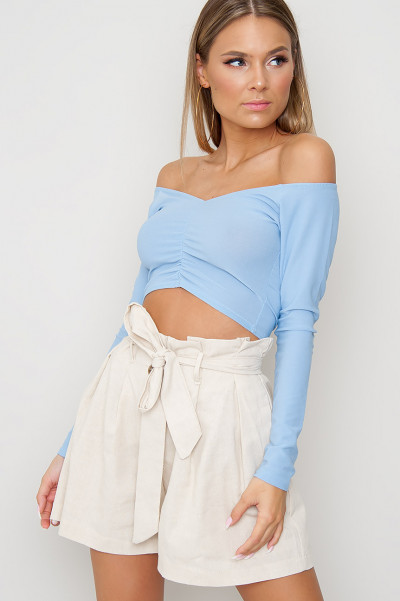 Ruching Crop Top - Isa Blue