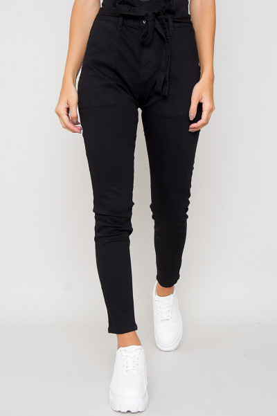 High Waisted Paperbag Jeans - Mika Svart