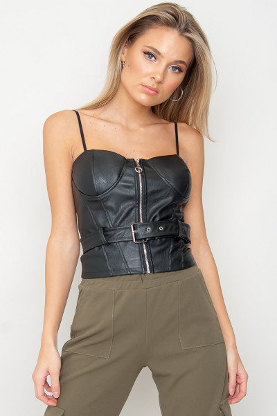Zip Up Faux Leather Bustier - Ziggy Black