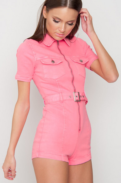 Zip Front Denim Playsuit - Eily Pink