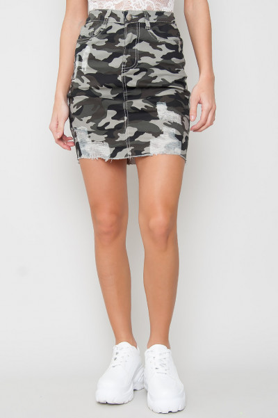 High Waisted Camo Kjol - Calix