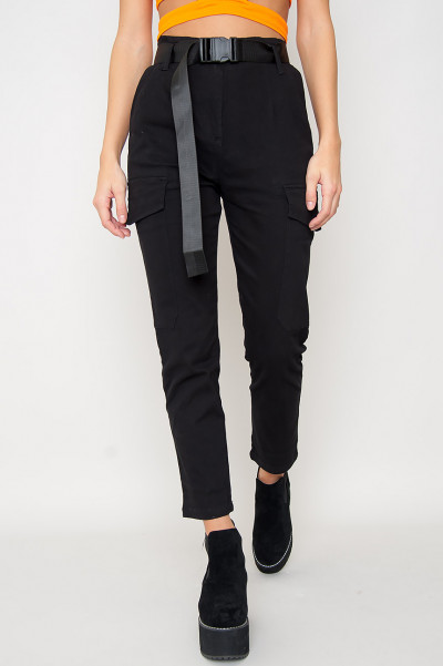 Svarta Belted Cargo Pants - Alice