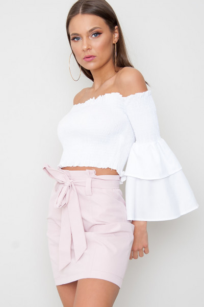 Off Shoulder Flared Top - Pyro White
