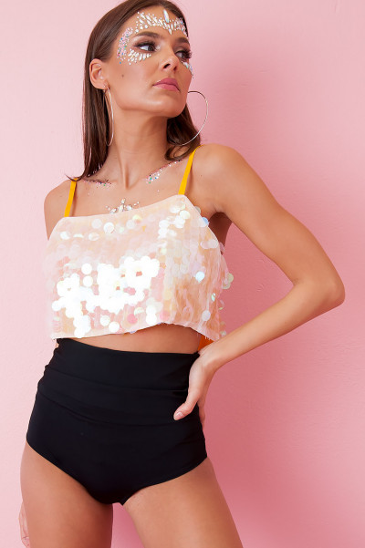 Sequin Cami Top - Aimee Yellow