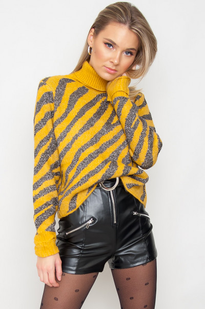 High Neck Zebra Jumper - Lorena Yellow