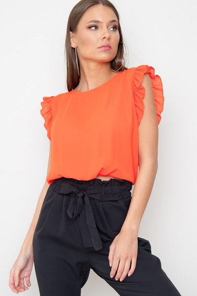 Orange Frill Top - Everly