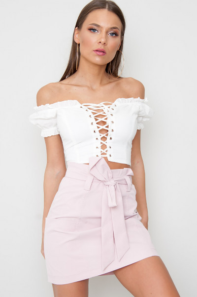 Lace Up Crop Top - Capril
