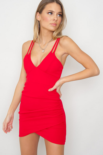 Double Strap Wrap Front Dress - Hinsley Röd
