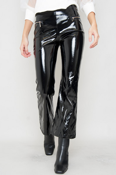 Wet Look Zipper Pants - Kenzie Black
