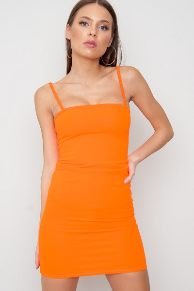 Strappy Bodycon Dress - Ace Orange
