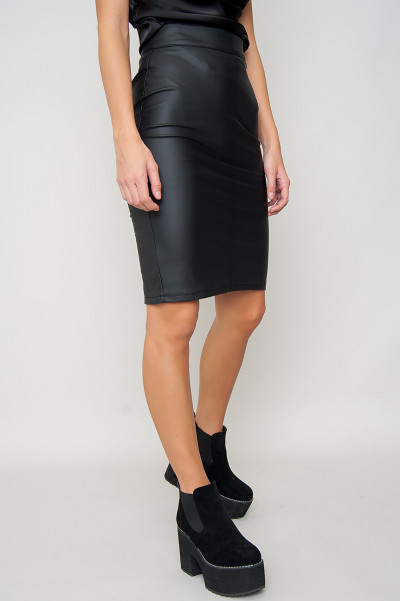 Faux Leather Midi Skirt - Clarissa