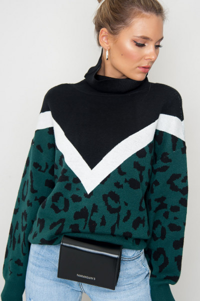 High Neck Jumper - Lynx Green