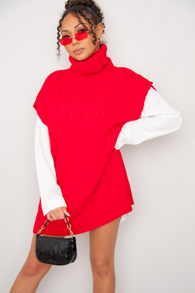 High Neck Red Knitted Vest