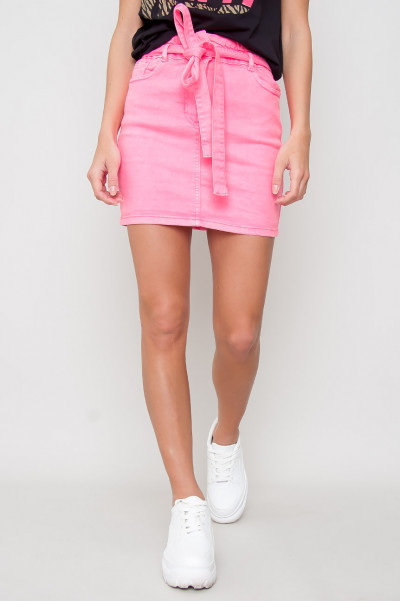 Paperbag Waist Tie Denim Skirt - Pink