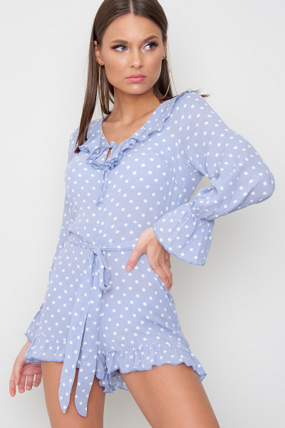 Polka Dot Frill Playsuit - Joely