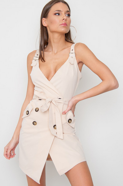 Wrapover Button Dress - Maddox Beige