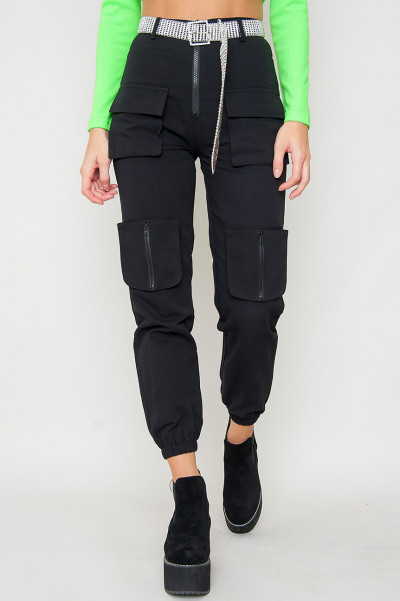 Cargo Pants W Zipper - Black Zuma
