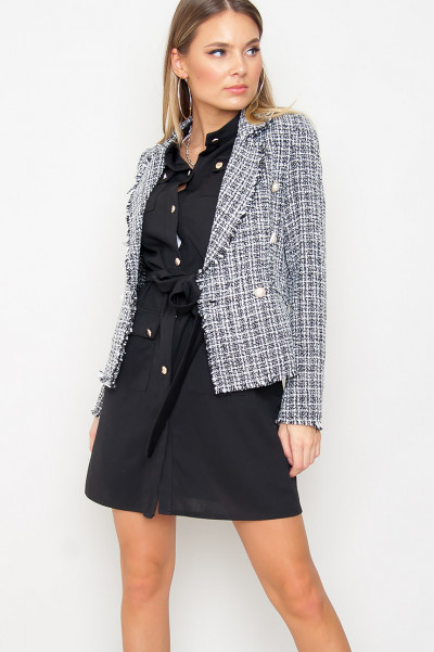 Checkered Button Front Blazer - Brenna