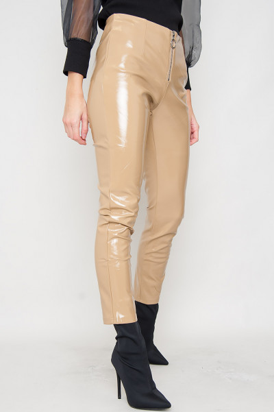 Wet Look Zipper Pants - Eden Beige