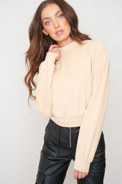 Another Place Beige High Neck Jumper