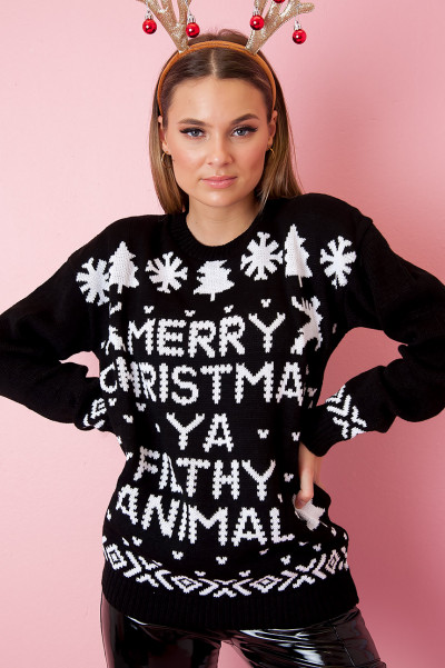 Christmas Sweater - Ya Filthy Animal Svart