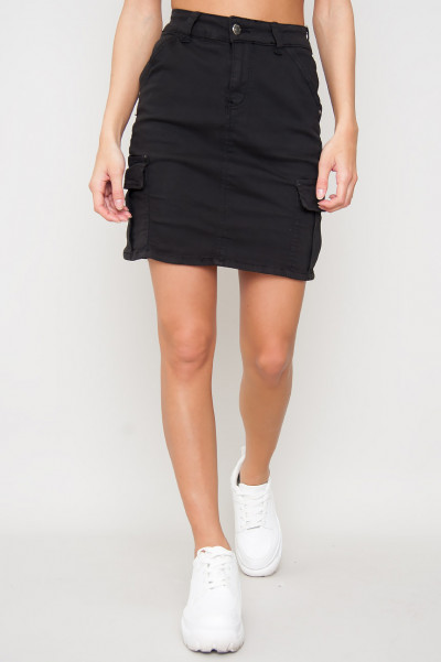 Cargo Denim Skirt - Gina Svart