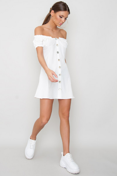 Button Up Dress - Cherri White